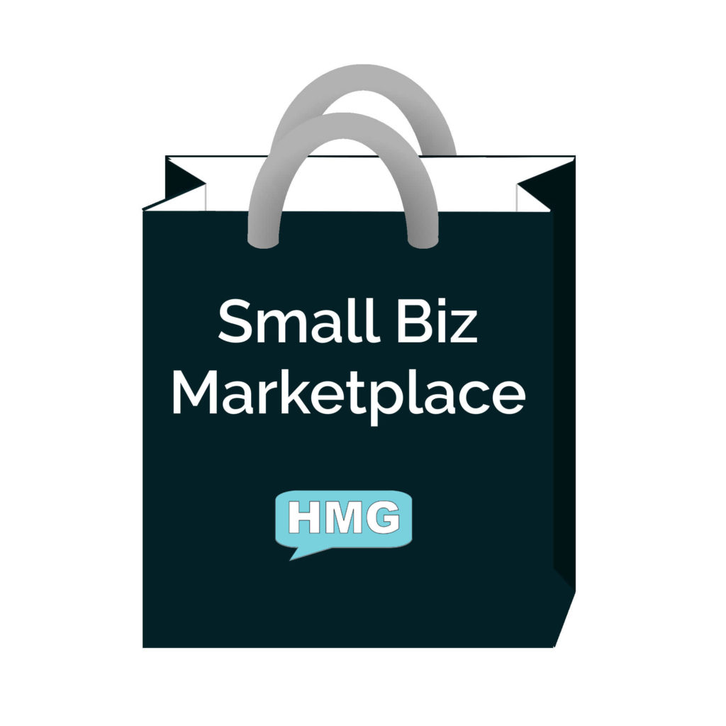 A teal shopping bag with 'Small Biz Marketplace' and the HMG logo on it.