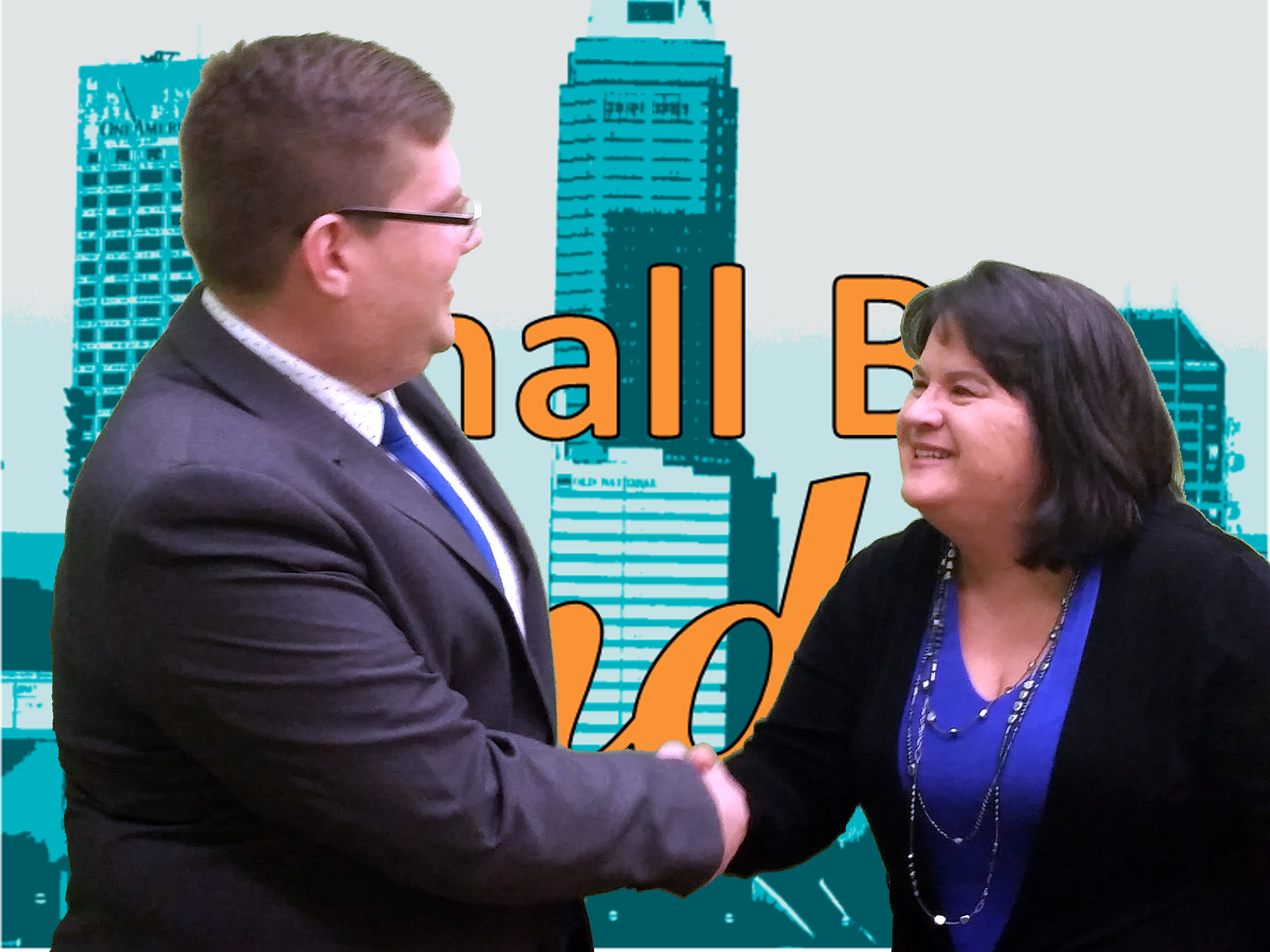 Ryan Henry and Cindy Garloch, shaking hands, in front of the Small Biz Indy logo (orange text over an aqua colorized image of Indianapolis)