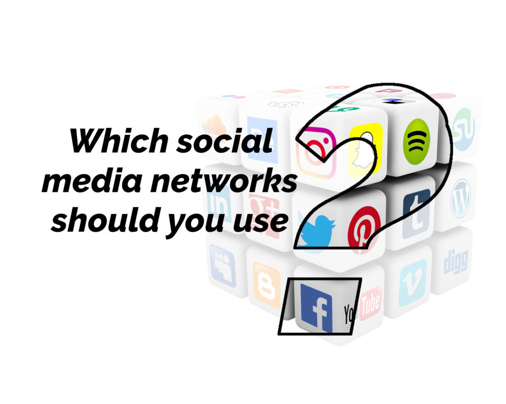 Which social media networks should you use? with the ? larger and through it, there is a rotating cube toy with social media icons on all the faces.