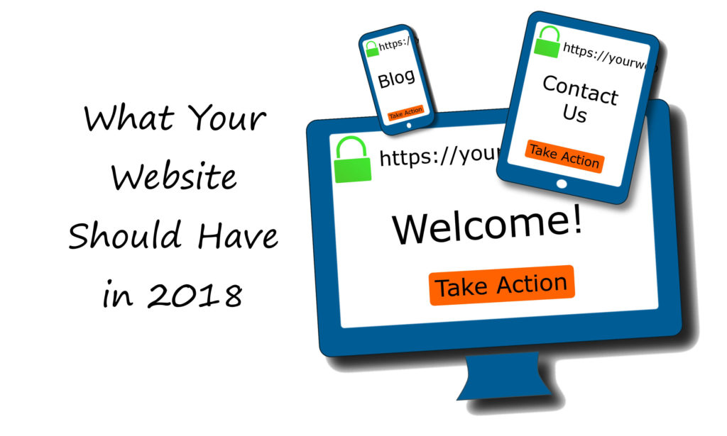The text 'What Your Website Should Have in 2018' next to a desktop monitor, a tablet, and a phone screen with a lock, url, content idea, and button on them.