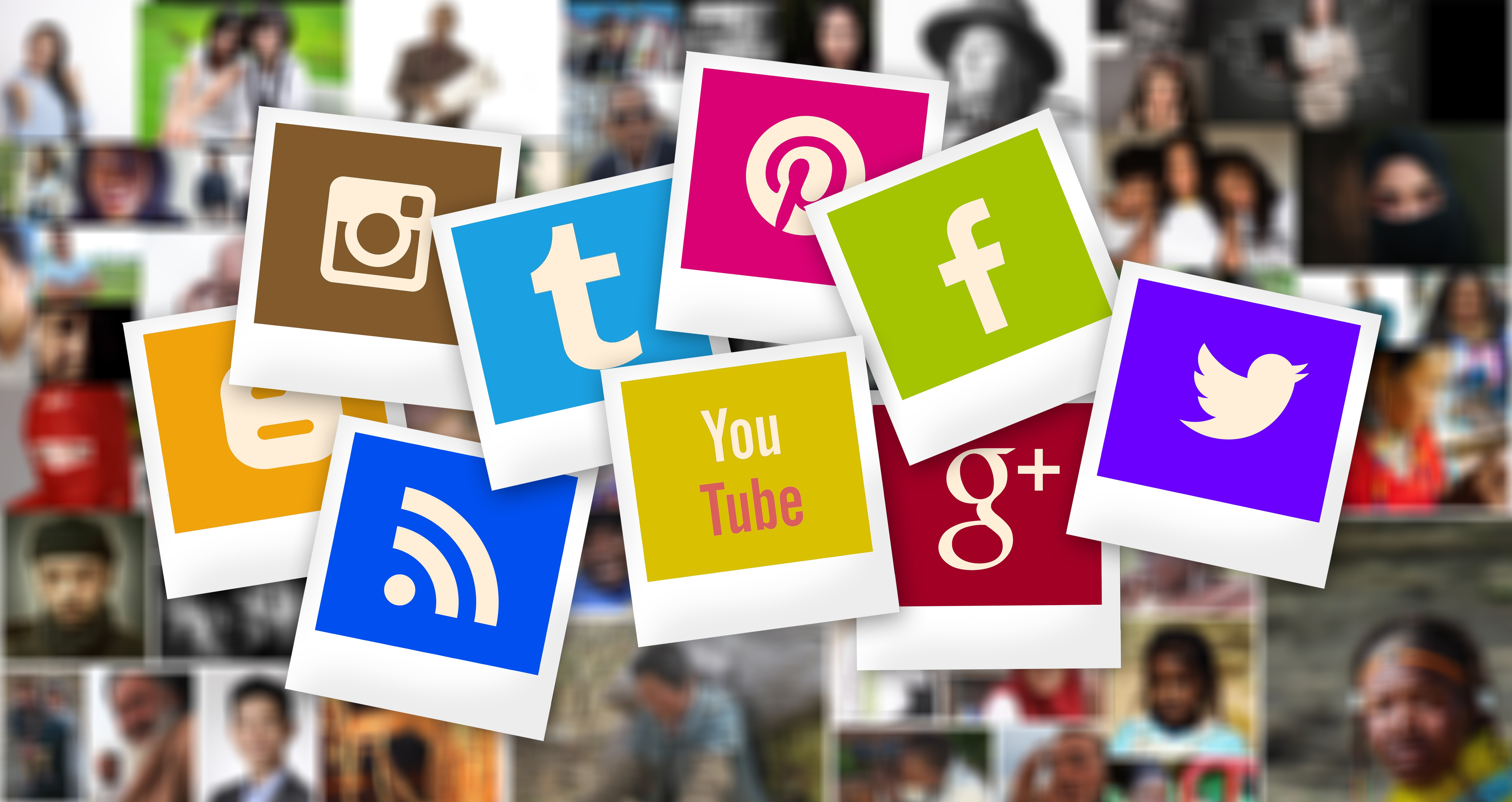 Polaroid-style images of Blogger, Instagram, RSS, Tumblr, Pinterest, YouTube, Facebook, Google+, and Twitter logos over various colors, above a blurry background of images of people.