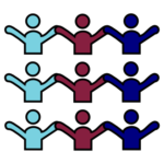 Icons of 3 rows of 3 people, in order in each row, 1 person light blue, 1 person pink, and 1 person dark blue.