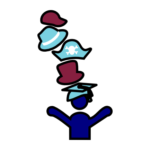1 person icon with 5 hats on, including a graduation cap, top hat, pirate hat, fedora, and baseball hat.