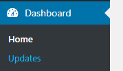 The Dashboard menu in WordPress. Updates is the bottom sub-menu item.