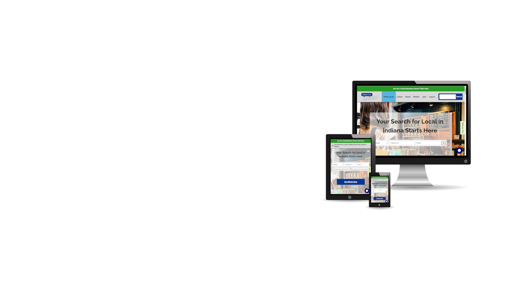 3 screens, a desktop, a tablet, and a phone, with the Open In Indiana website loaded on them.